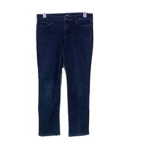 LOFT Dark Wash Modern Straight Leg Jeans QQ28